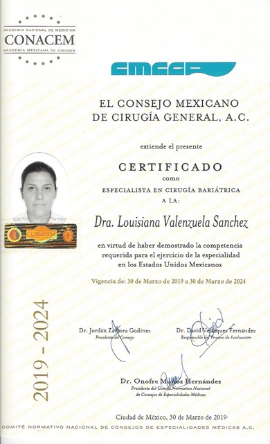 Dr. Lousiana Valenzuela - Board Certified in Bariatric and Metabolic Surgery